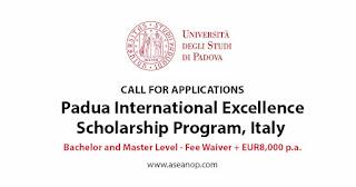 University Of Padua International Excellence Scholarship Program 2021