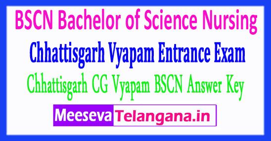 Chhattisgarh Vyapam Bachelor Of Science Nursing B.Sc Nursing Answer Key 2018 Download