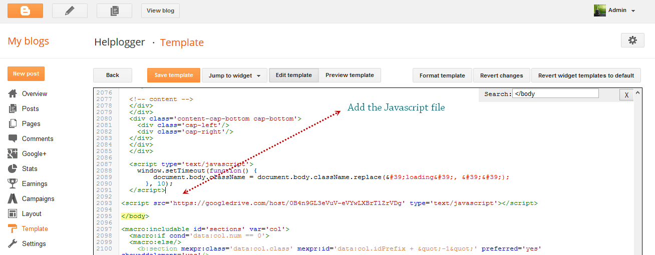 add external javascript js to blogger
