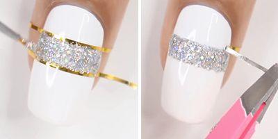 passando esmalte de glitter nas unhas decoradas brancas