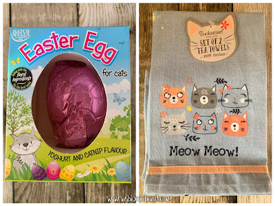 What's In The Box ©BionicBasil® Gus & Bella Spring Kitten Box  Catnip Easter Egg and 2 x Cooksmart Tea Towels