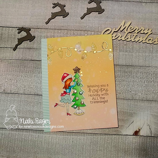 Holiday decorating Card by Nakaba Rager | Christmas Trimmings Stamp Set and Light Strings Stencil by Newton's Nook Designs #newtonsnook #handmade