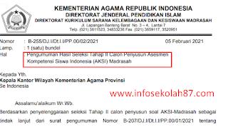 Pengumuman Hasil Seleksi Tahap II Calon Penyusun Asesmen Kompetensi Siswa Indonesia (AKSI) Madrasah