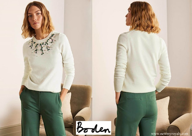 Crown Princess Stephanie wore BODEN Montrose Embellished Sweater