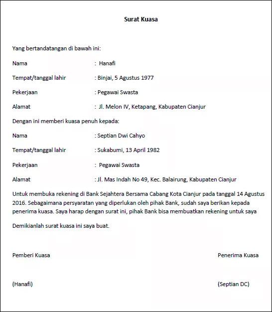 Surat kuasa buka rekening
