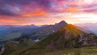 HD wallpaper landscape, Mountains, Sunset, Clouds