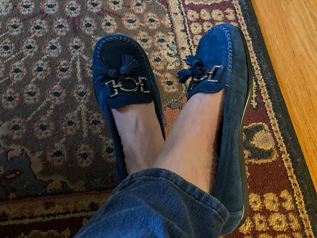 blue moccasin shoes by aerosole