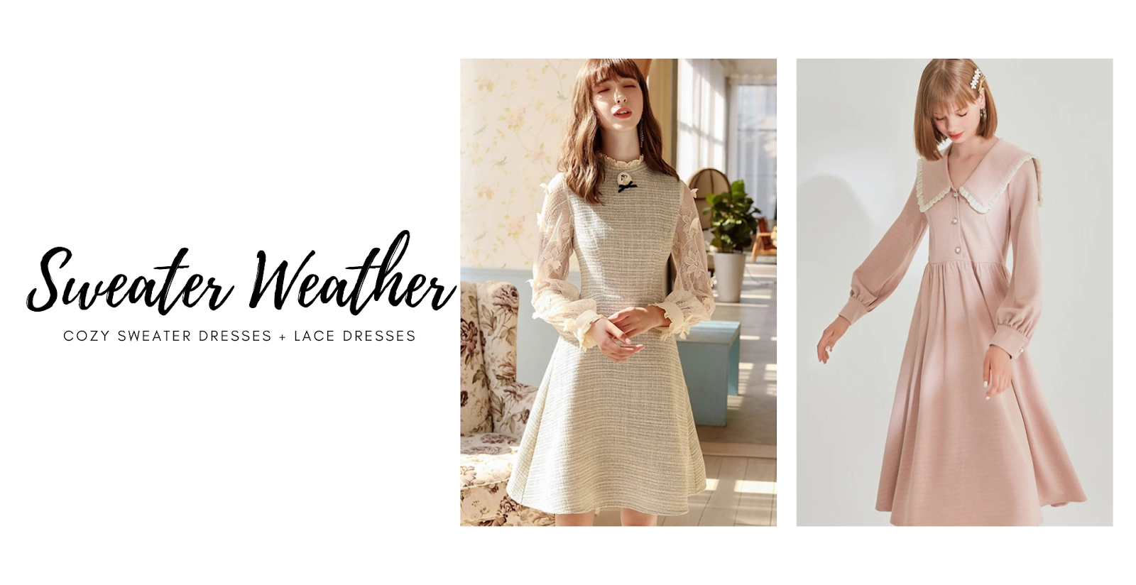 SWEATER WEATHER | COZY SWEATER DRESSES + LACE DRESSES