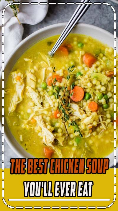 The BEST chicken soup you'll ever eat is the best homemade nourishing healthy soup when you're feeling under the weather. Packed with anti-inflammatory ingredients like ginger, turmeric, garlic. BEST SOUP EVER!