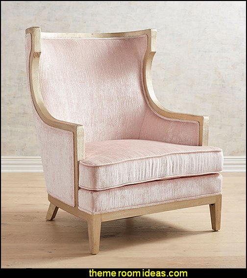 Melina Champagne Blush Wingchair  Blush pink decorating - blush pink decor - blush and gold decor - blush pink and gold bedroom decor -  blush pink gold baby girl nursery furniture - blush art prints - rose gold bedroom decor -  blush black bedroom decor - blush mint green decor - Blush Black Gold Glitter home decor - Blush Pink furniture