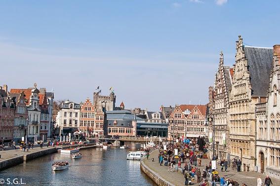 Vista de Gante desde San Miguel en Belgica