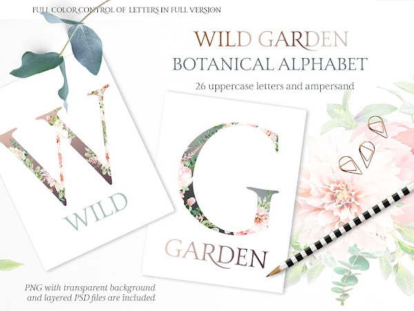 Download Wild Garden Botanical Alphabet Watercolor Free