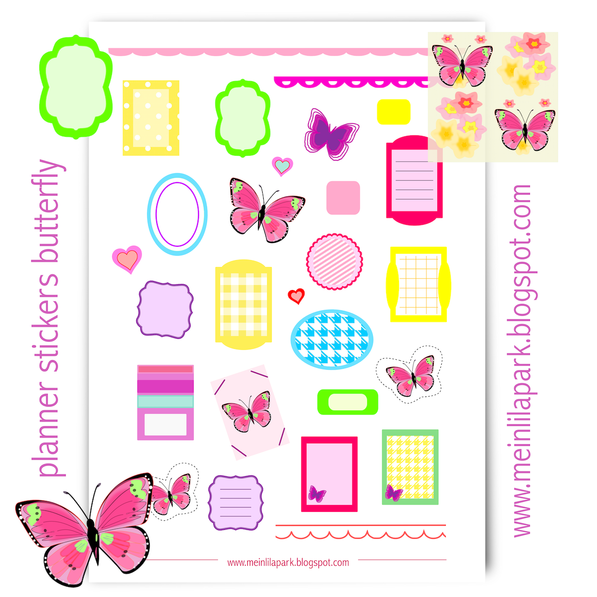 Free Printable Planner Stickers Butterfly
