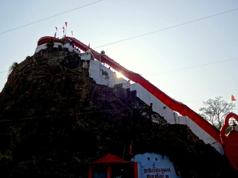 Sacred Garjiya Devi Shakti Temple on a large rock Uttarakhand