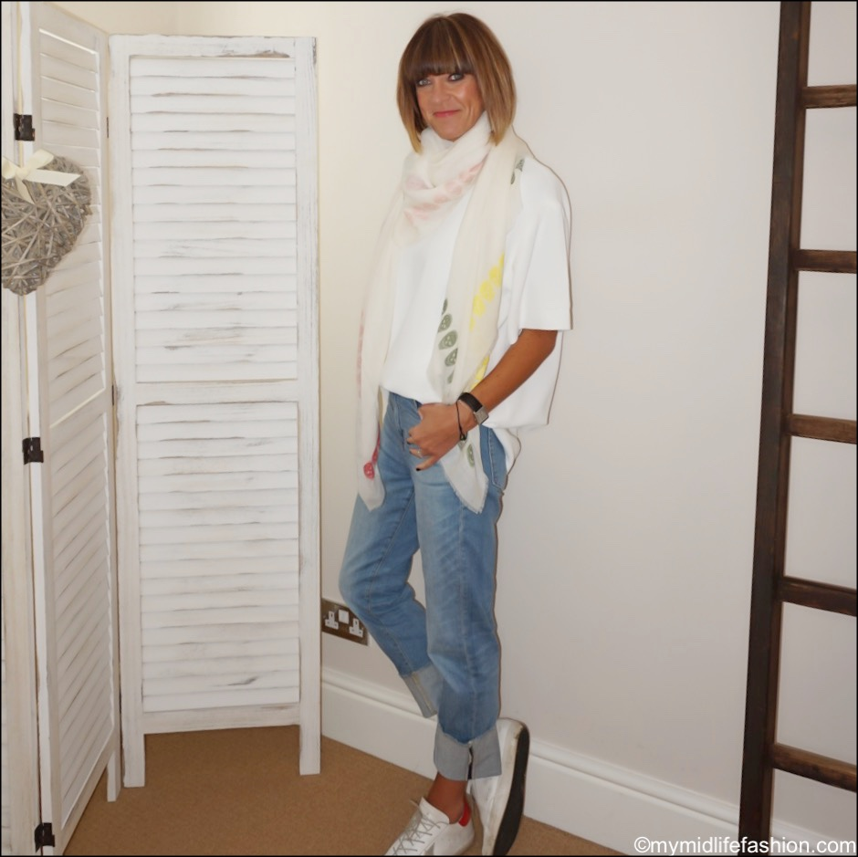 my midlife fashion, j crew high rise slim boyfriend eco jean with tall cuff, Alexander McQueen scarf, Raey oversized crepe top, golden goose superstar low top leather trainers