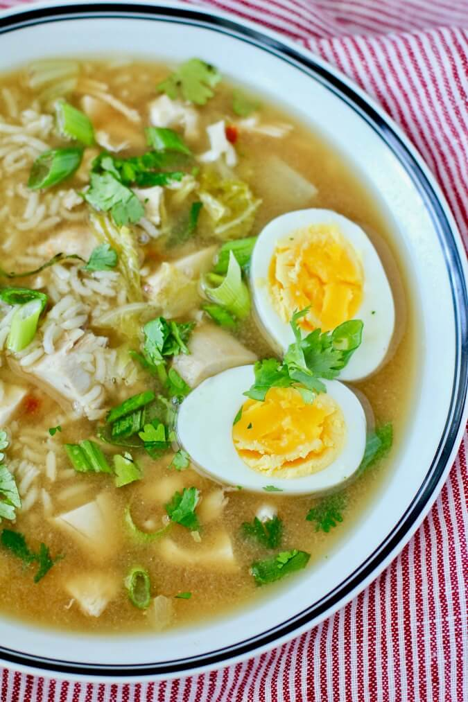 Chicken and Rice Soup with Cabbage