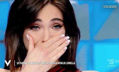 Lorella Boccia piange si commuove foto Verissimo 1 Maggio