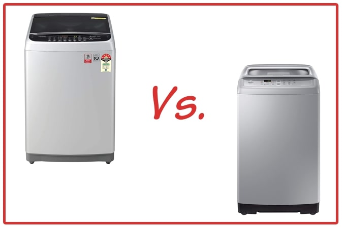 LG T80SJSF1Z (left) and Samsung WA70A4002GS/TL (right) Washing Machine Comparison.