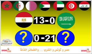 اكبر خسائر المنتخبات العربية