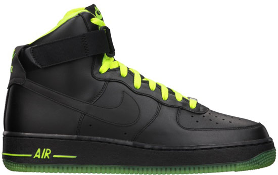 buy popular 739db 44165 07 21 2012 Nike Air Force 1 High 315121-013 Black Black-Volt  100.00