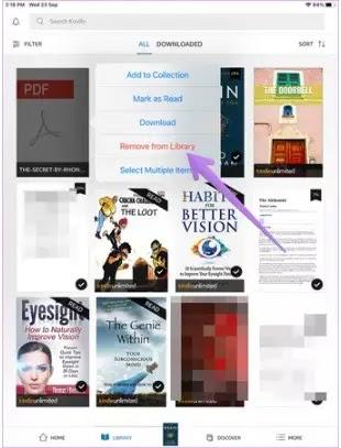 كيفية حذف الكتب من تطبيق KINDLE