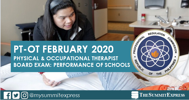 February 2020 Physical, Occupational Therapist PT-OT board exam result: performance of schools