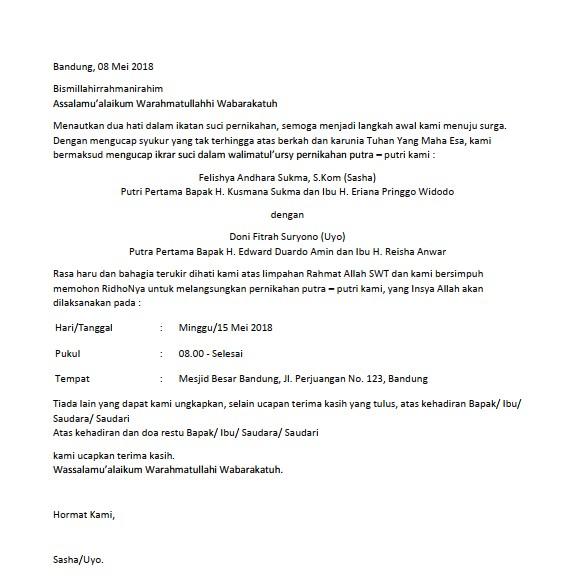 Contoh Surat Undangan Pernikahan (via: suratresmi.id)
