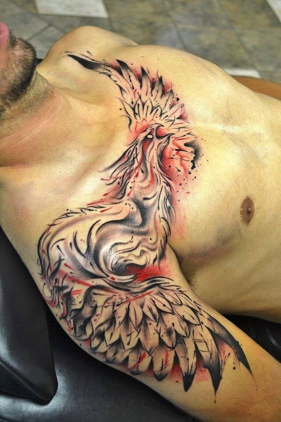 Phoenix tattoo on men chest
