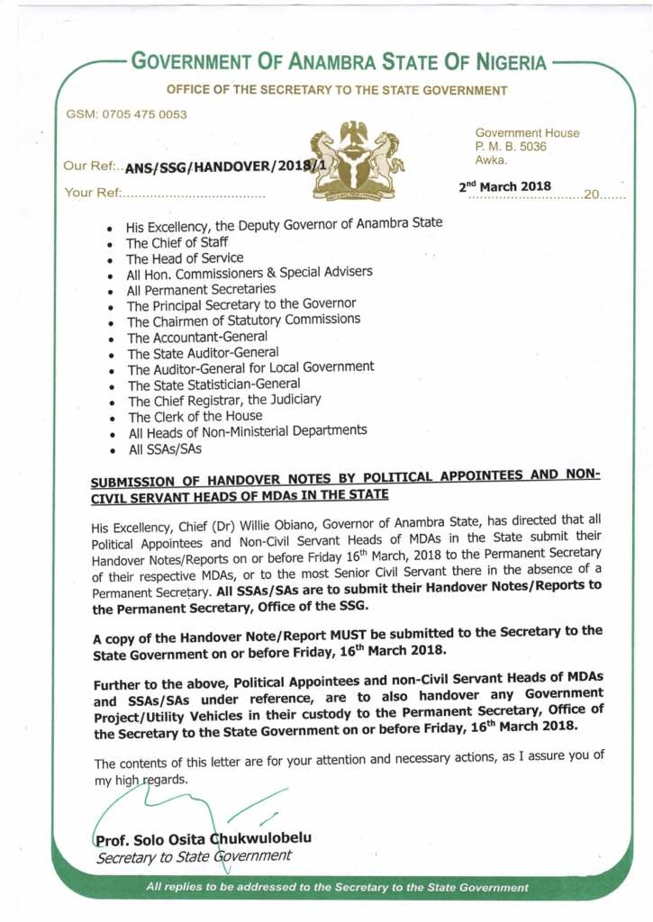 Obiano sacks Mark Okoye, Chinwe Nwebili, other political appointees - handover note