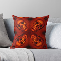 Skull Pumpkin Carving on a RedBubble Cushion