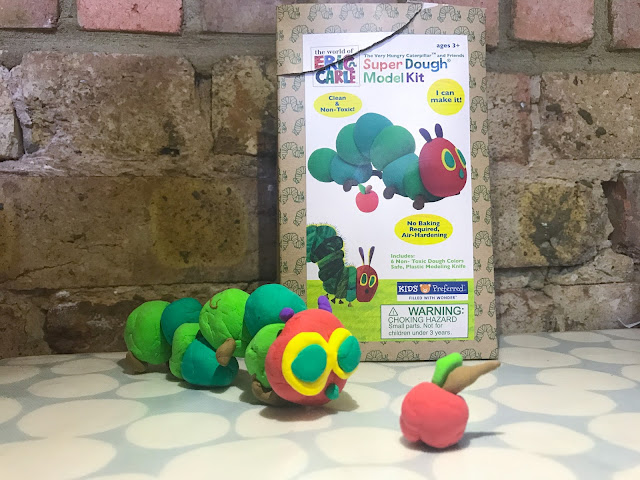 The completed caterpillar dough model as created by my 5 year old
