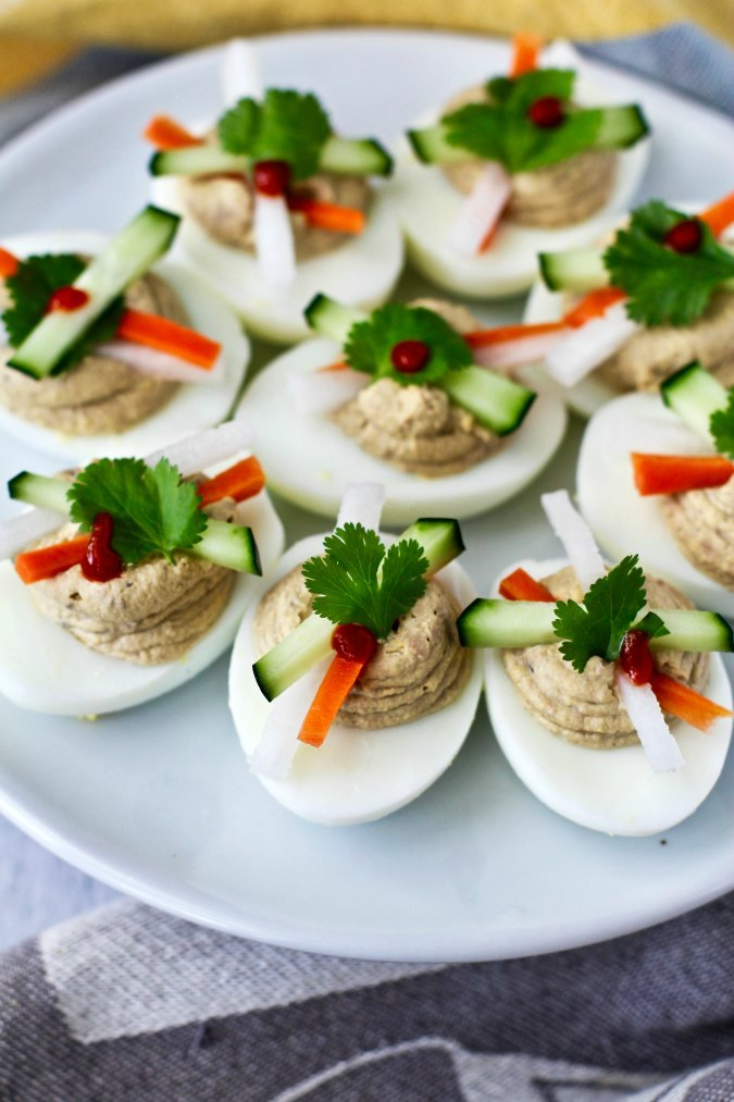 Banh Mi Deviled Eggs with pate