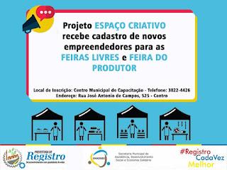 Projeto Espaço Criativo da Economia Solidária de Registro-SP recebe inscrições de novos empreendedores