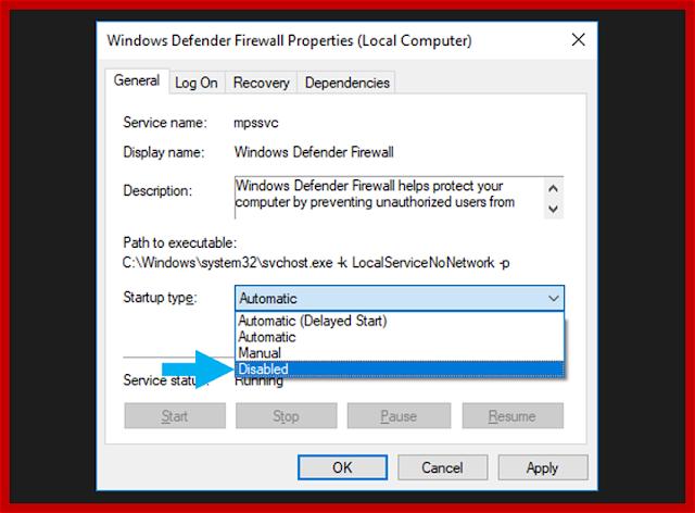Nonaktifkan Windows Defender Melalui Services