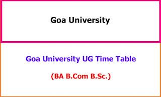 Goa University Degree Exam Time Table 2021