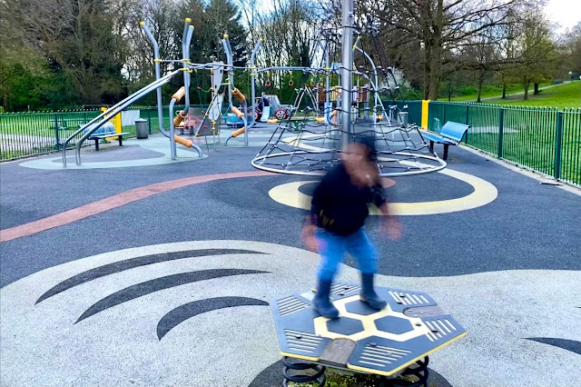 A great playground in Buckhurst Hill with lots of different pieces of play equipment including swings, play frames, bouncers and roundabouts