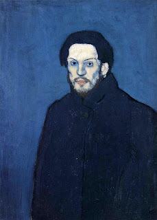 Young Pablo Picasso's monochromatic Self-Portrait, painted in 1901 in early stages of his Blue Period with mainly blue tones.