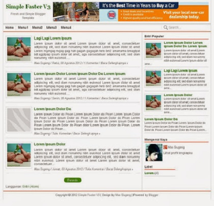 Simple Faster Adsense Blogspot Template