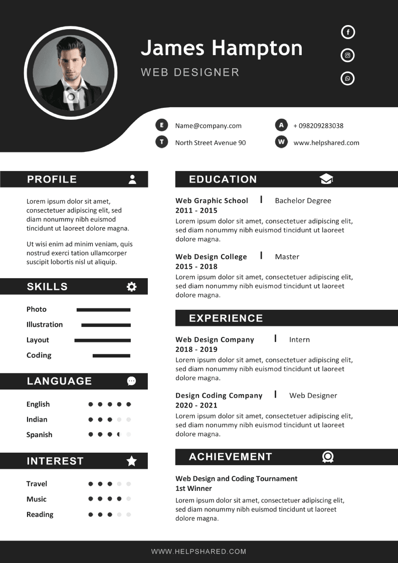 black white cv resume template