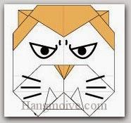 Bước 18: Vẽ mắt, mũi, râu để hoàn thành cách xếp con Ma Sói bằng giấy theo phong cách origami.
