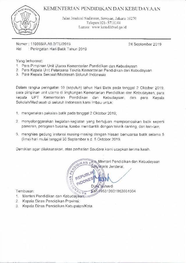 Download Surat Edaran Mendikbud Tentang Peringatan Hari Batik Nastional 2019 pada Tanggal 2 Oktober 2019