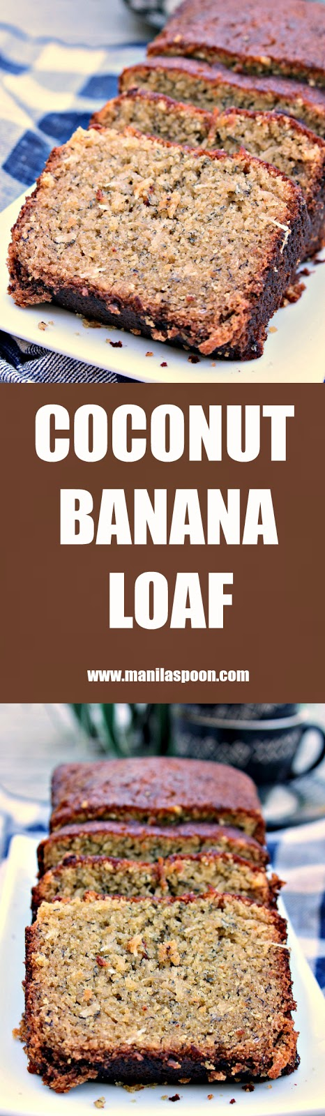 Treat yourself to this super moist and truly scrumptious Coconut Banana Loaf (Bread) that has all the yummy notes of coconut, tangy lemons and sweet Bananas! | manilaspoon.com