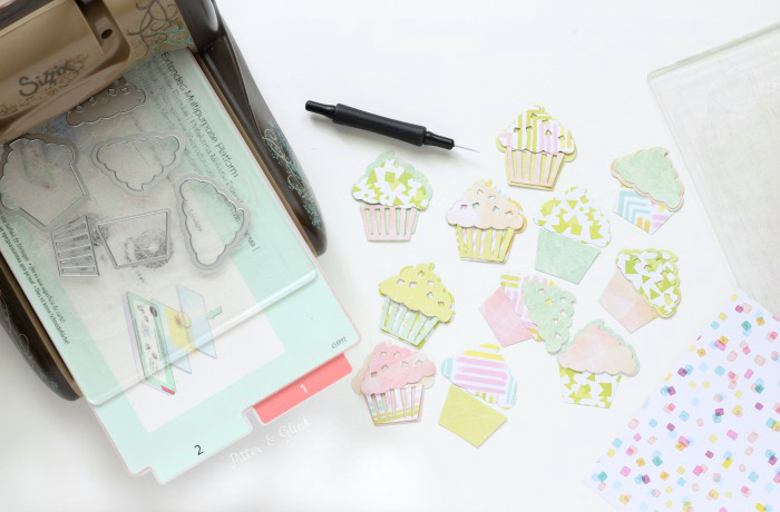 How to Make Sparkly Cupcake Planner Clips | Cutting the Paper Pieces pitterandglink.com