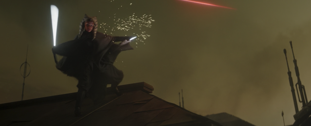 Ahsoka Tano Deflects Blaster Fire On Rooftop The Mandalorian Chapter 13 Disney Plus
