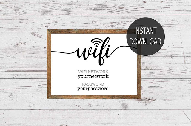 WIFI PASSWORD SIGN - WIFI SIGN - INSTANT DOWNLOAD
