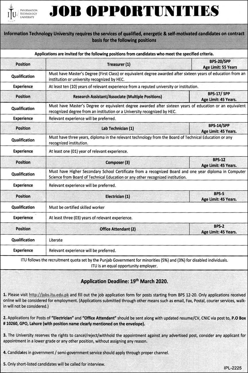 Jobs in Information Technology University ITU Latest 2020