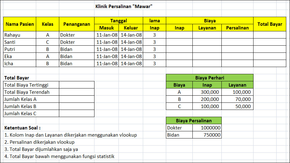Contoh Soal Excel Untuk Administrasi