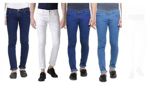 Pack Of 4 Men's Solid Slim Fit Denim Jeans