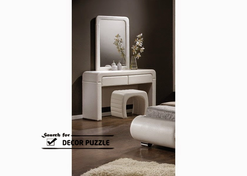 modern small dressing table with mirror and white chair