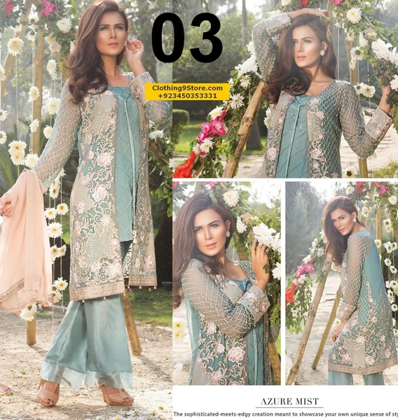 Jazmín Embroidered Chiffon Collection Vol-1 by BAROQUE 2017